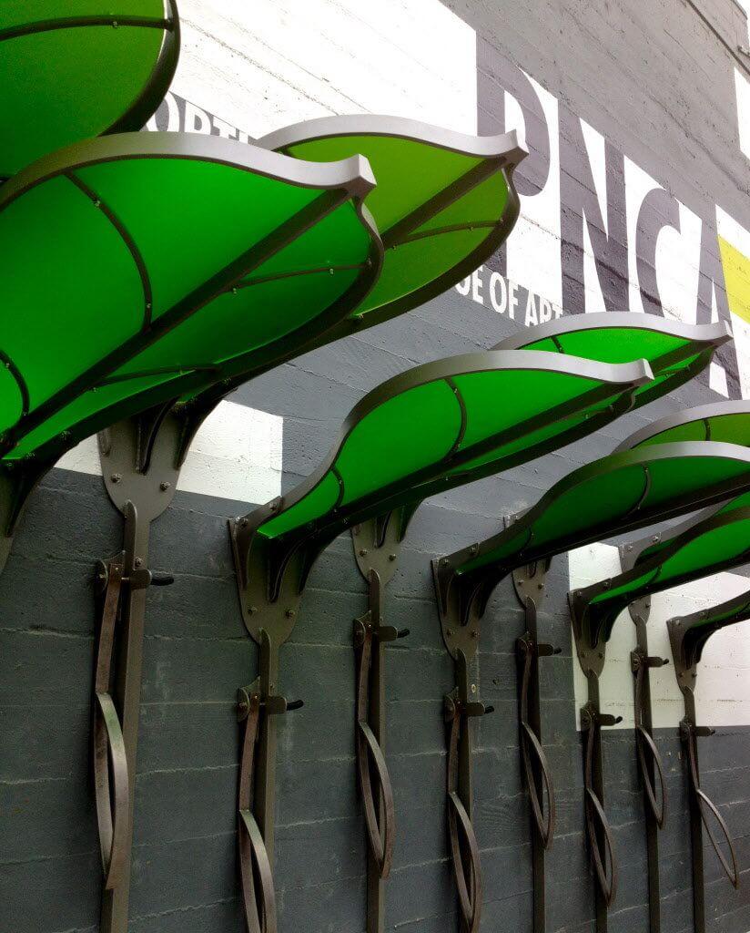 Leaf shaped bike racks in Oregon