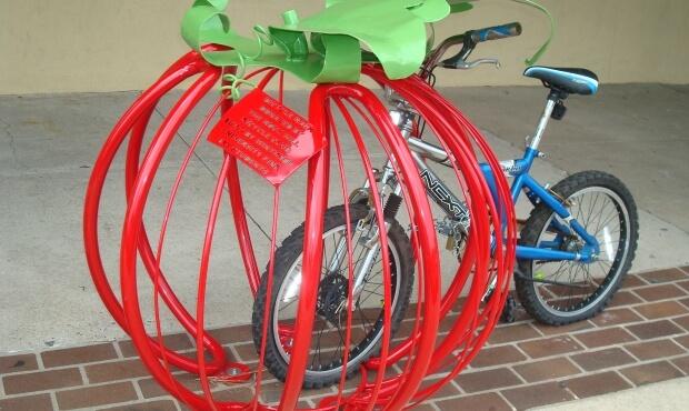 Tomato shaped bike rack in Rock HIll, SC