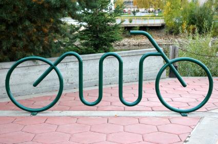 Green bike shaped bike racks