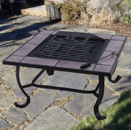 This fire pit is surrounded by ceramic tiles, but also comes with a tile cover. Convert between fire and tabletop as needed. Photo via Aosom.