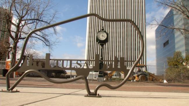Buffalo shaped bike rack in Tulsa, OK