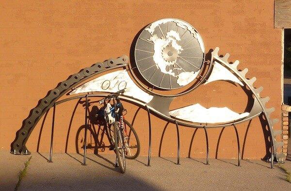 Tucson bike rack art outside of bike shop