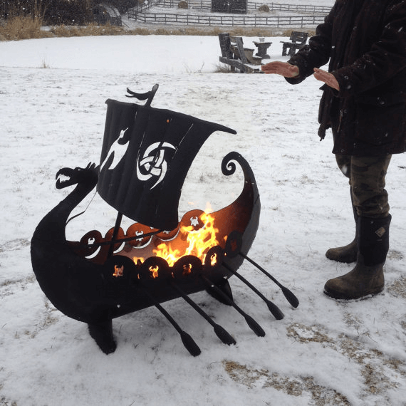 This Viking Ship will warm up any northern lair. Photo via ImagineMetalArt.