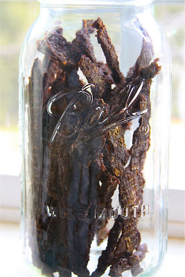 best foods to dehydrate: beef jerky in a jar