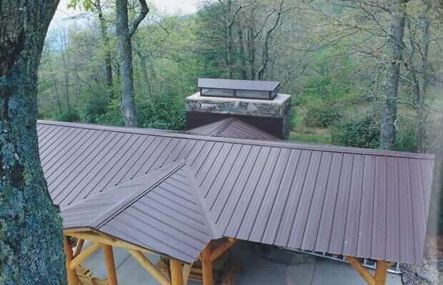 Vertical Seam, or Standing Seam, Metal Roof shown on a picnic shelter.