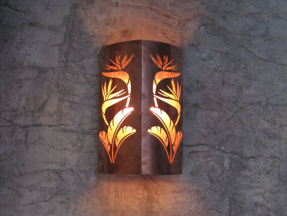 Copper Bird of Paradise Outdoor Sconce