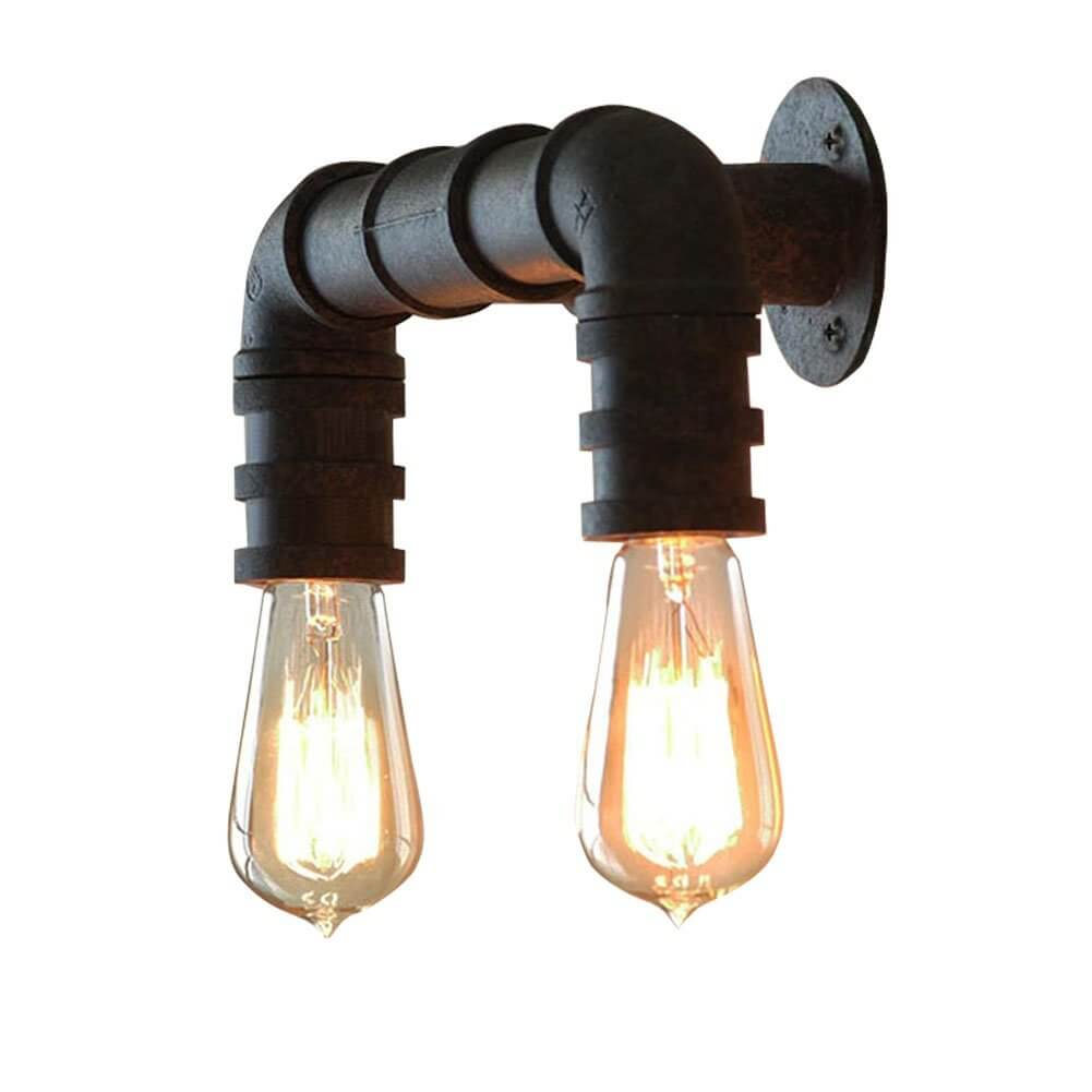 Double Pipe Industrial Outdoor Sconce
