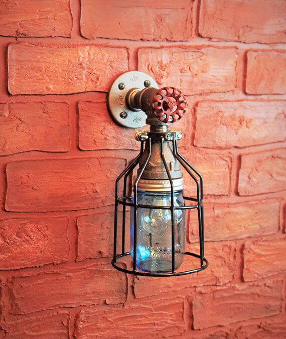 Steampunk Industrial Pipe Outdoor Sconce