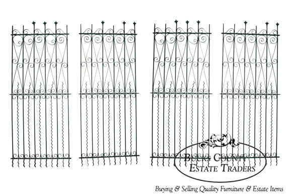 Antique Gothic Wrought Iron Fence Sections
