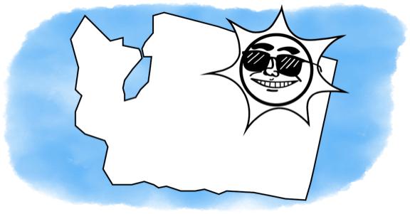 the sun smiling on washington state