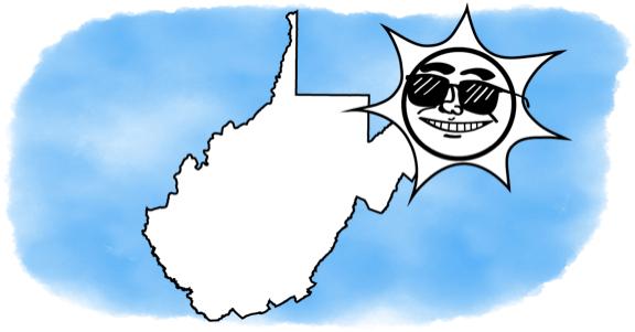 solar energy shining on West Virginia