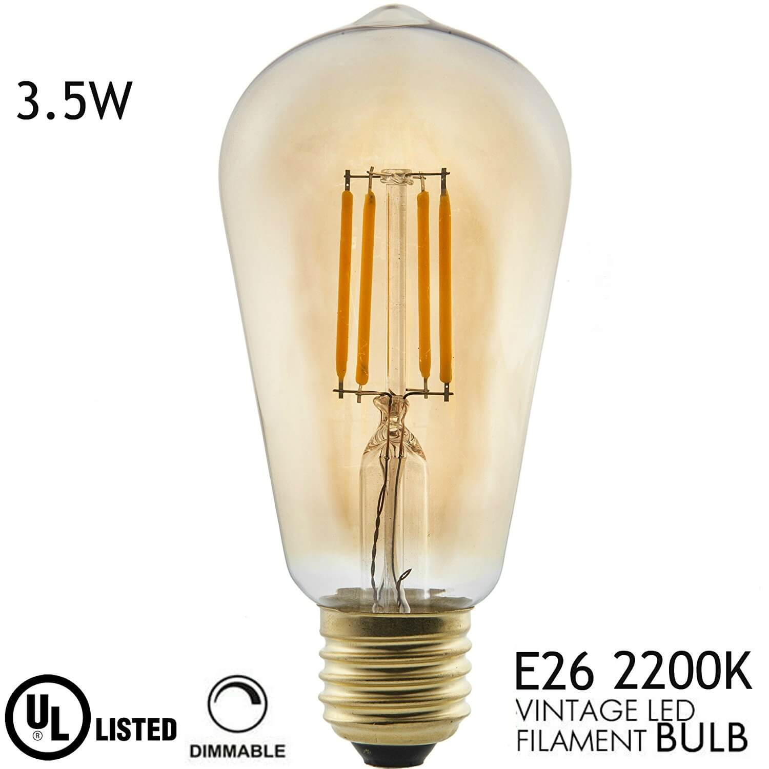 Amber Glass Edison Light Bulb