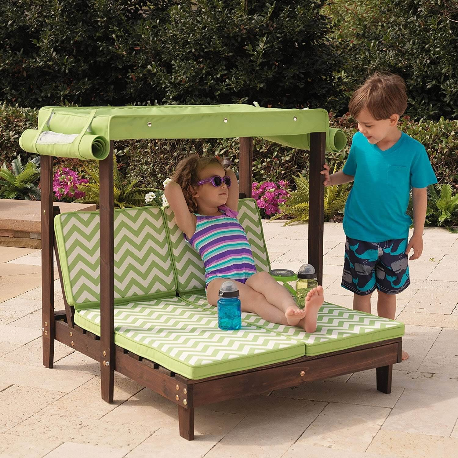 Kids Double Chaise Lounge with Canopy - Outdoor Patio Furniture • Insteading