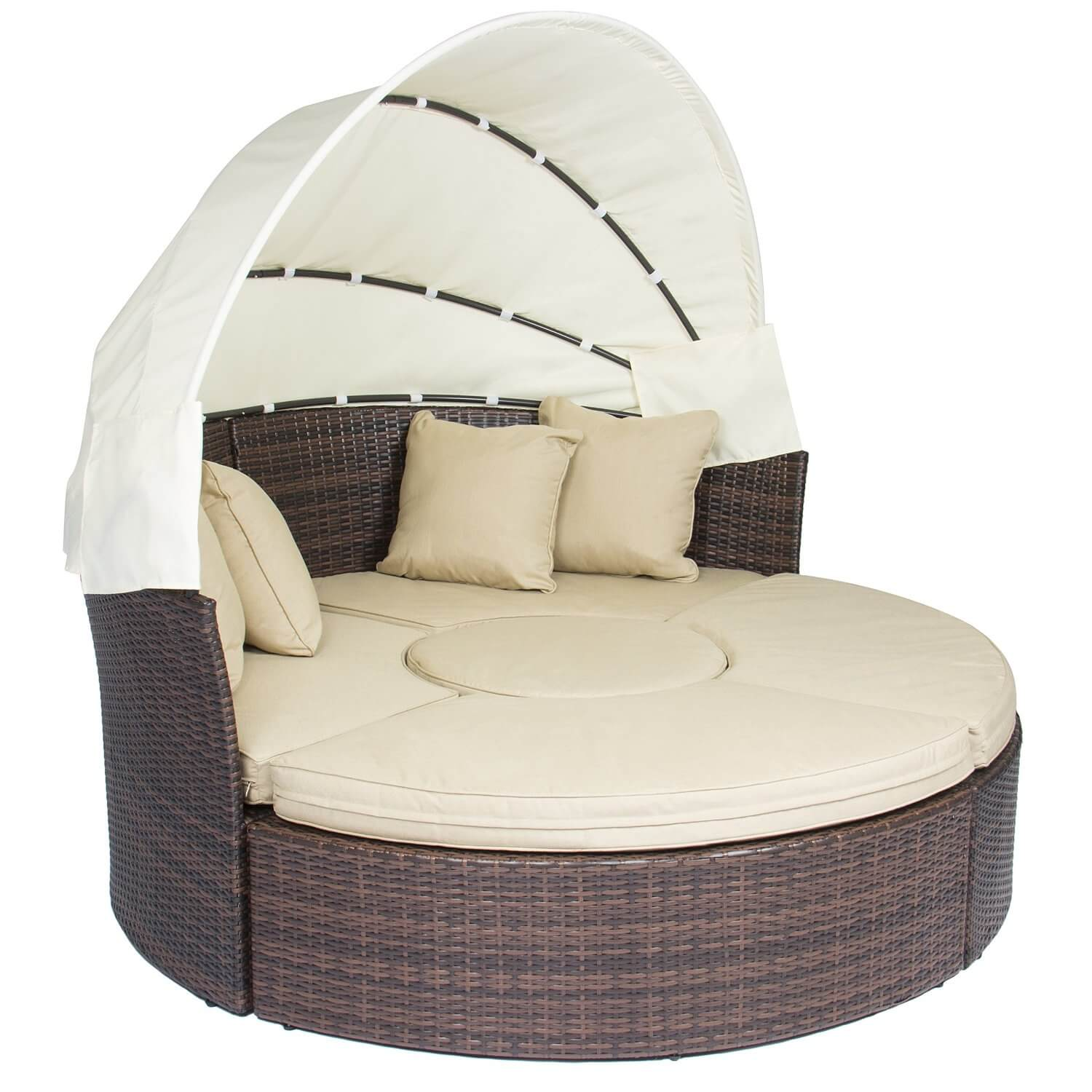 Retractable Canopy Wicker Sofa