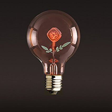 Rose-filled Edison Light Bulb