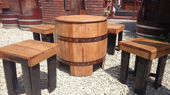 Solid Oak Whisky Barrel Table Set