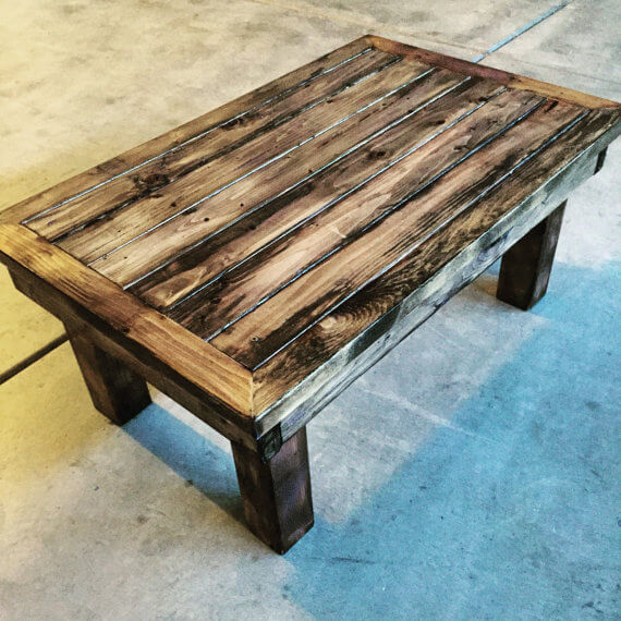 Stained Wood Rustic Coffee Table