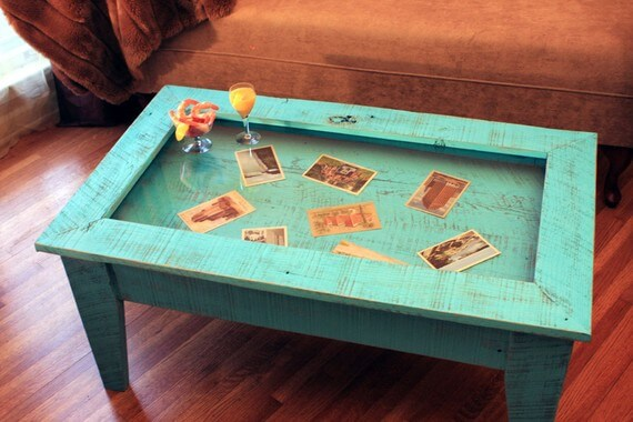 Turquoise Display Coffee Table