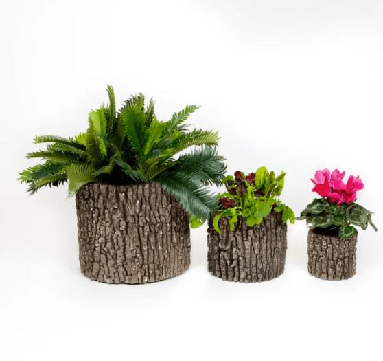 three faux tree planters