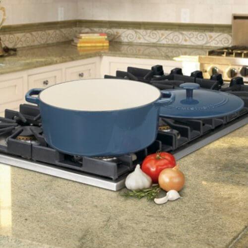 cuisinart cast iron dutch oven on a stove