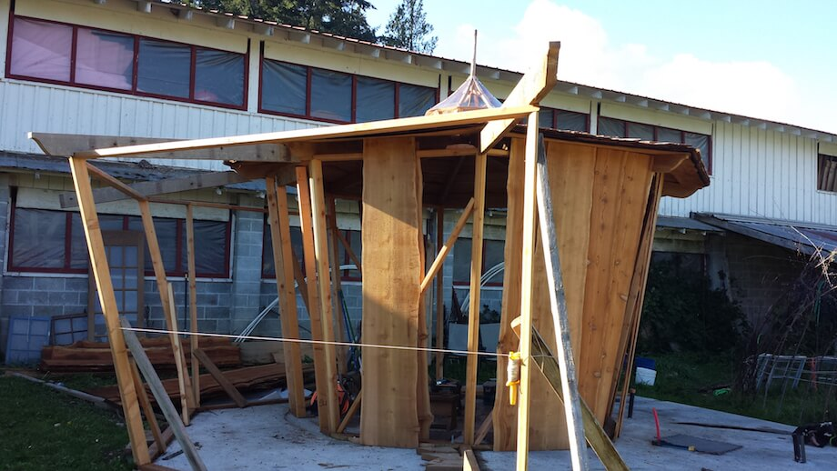 framing a DIY sauna