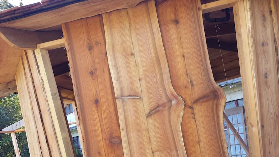 live-edge wood for DIY sauna