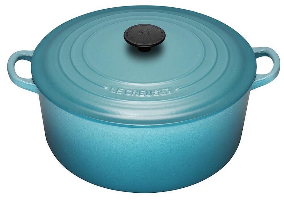 blue le creuset cast iron dutch oven