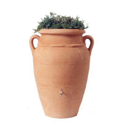 Roman Ceramic Rain Barrel Planter