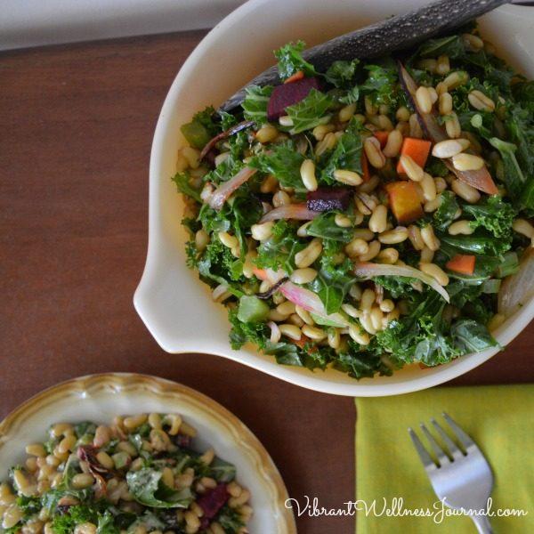 vegan thanksgiving roasted root vegetable kale salad