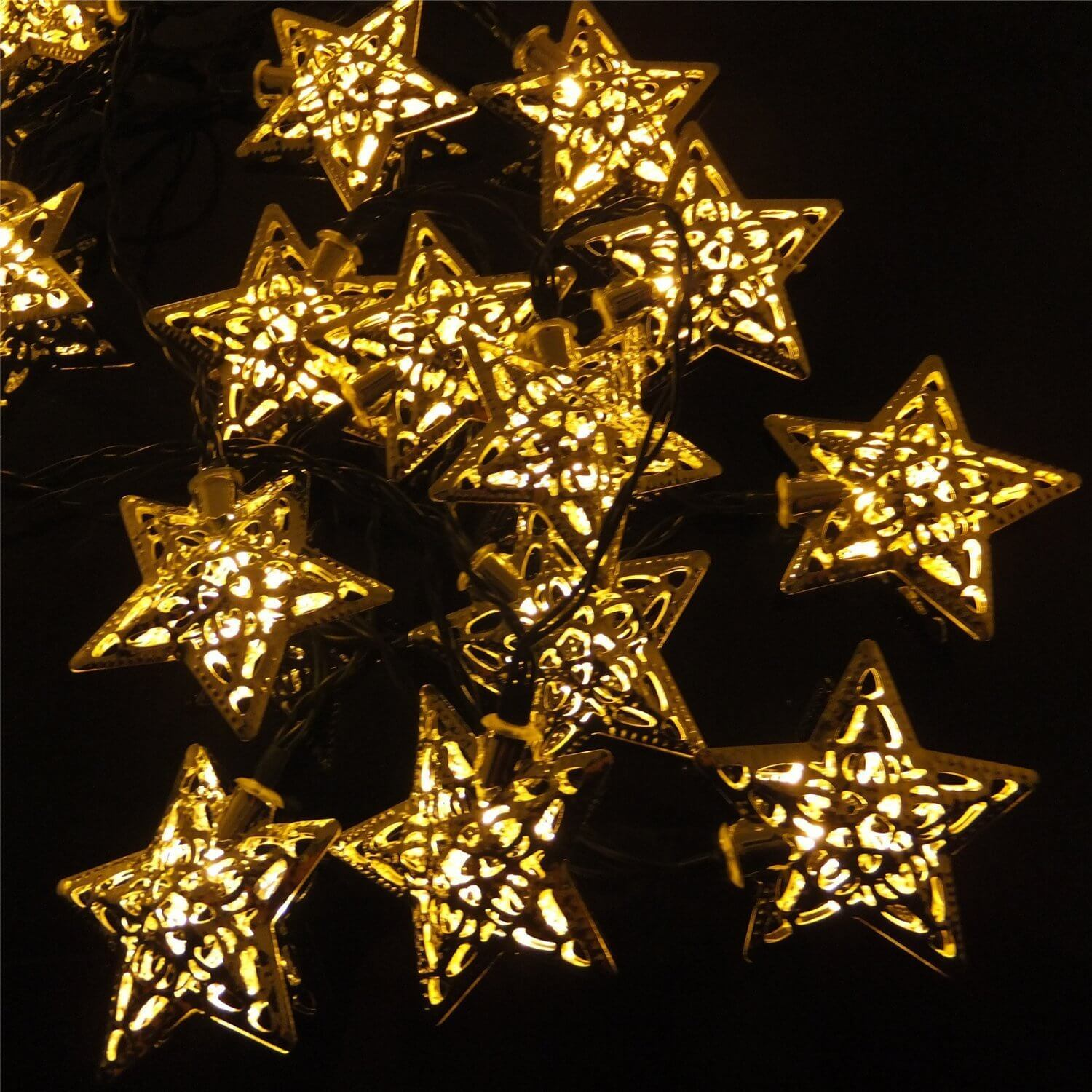 solar powered star string lights