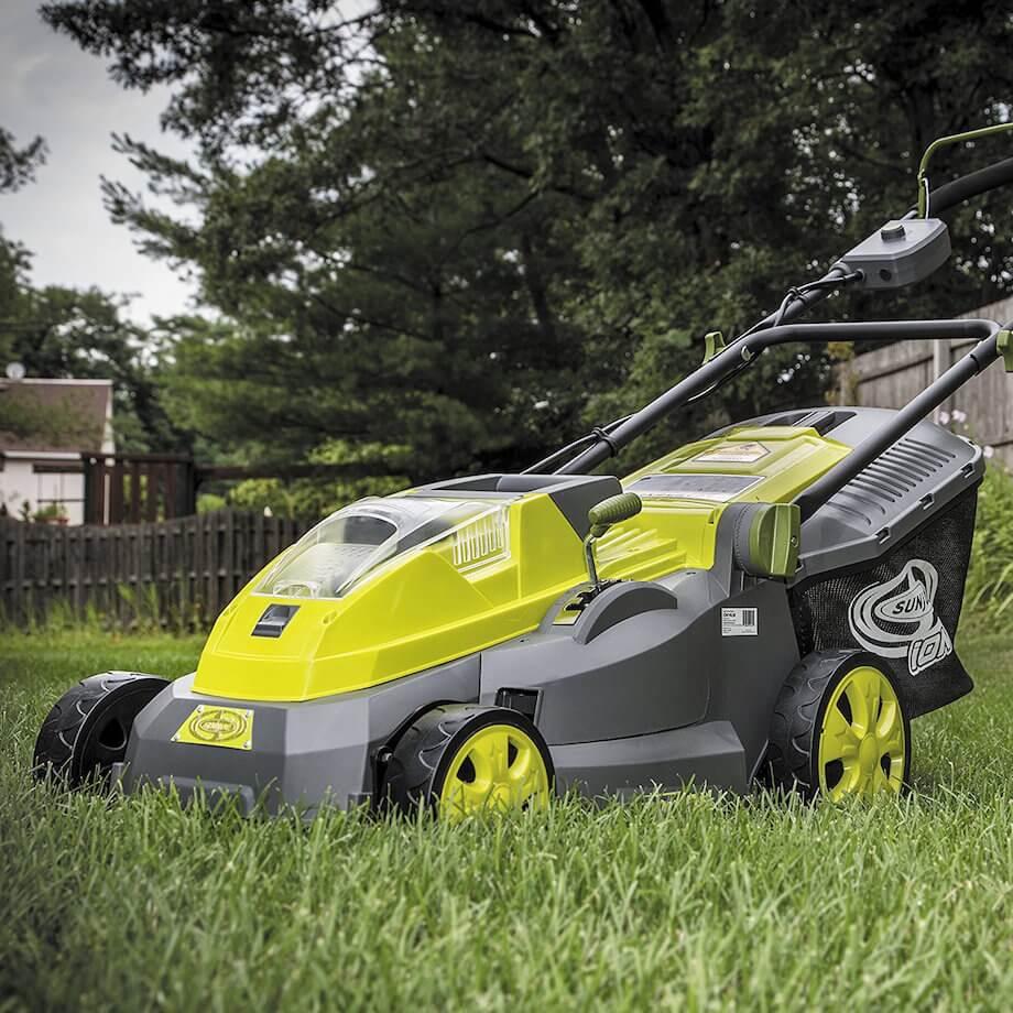 sun joe 16 inch cordless electric cordless lawn mower