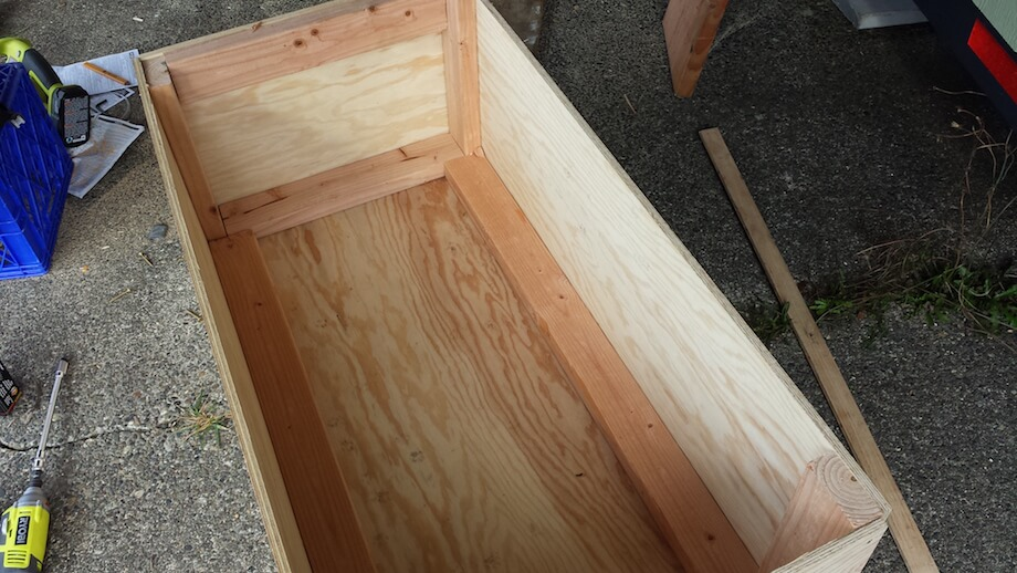 a view of the interior of a worm bin while being built