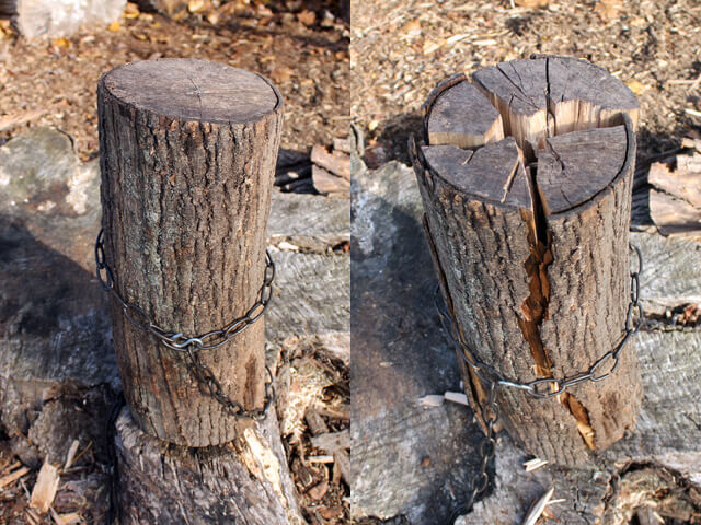 a chained up log before and after splitting