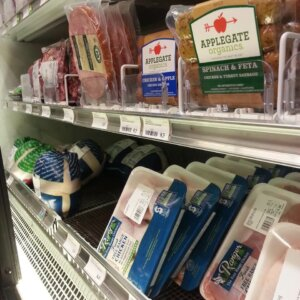 organic labelled meat on store shelves