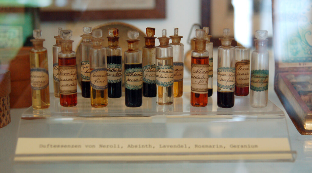 essential oils at a museum