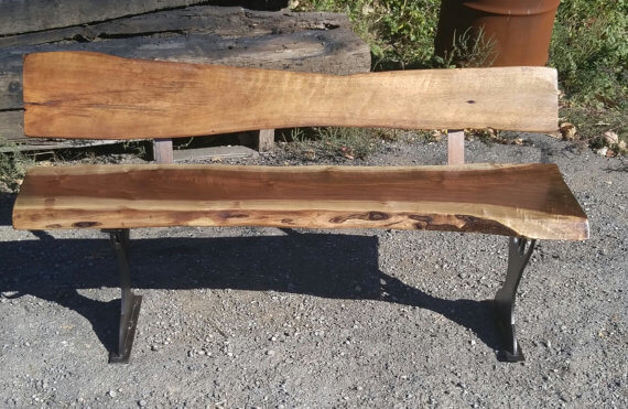Live Edge Bench with Back Rest