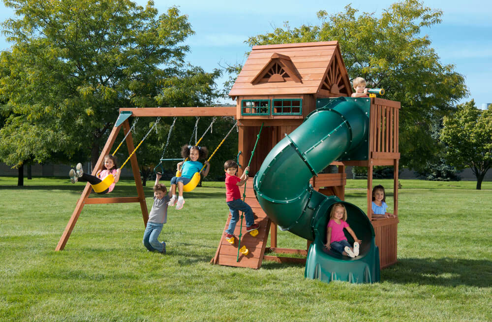 Playset with Spiral Tube Slide