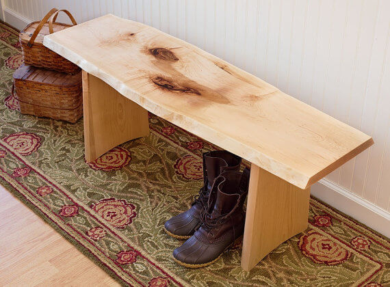 Rustic Live Edge Wood Bench