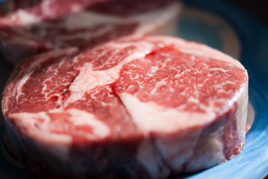 steak nicely marbled