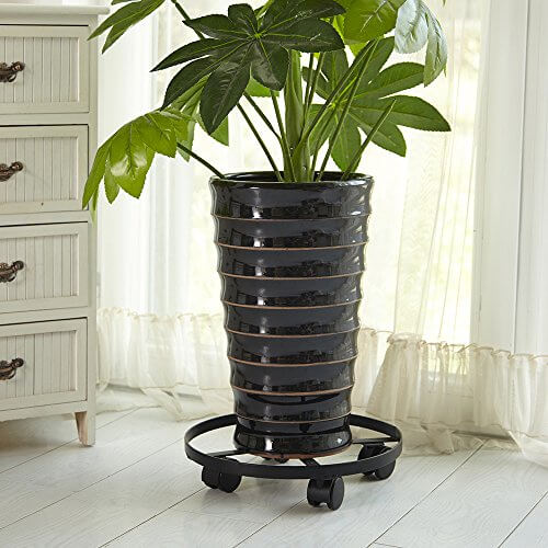 14u2033 Black Iron Plant Caddy