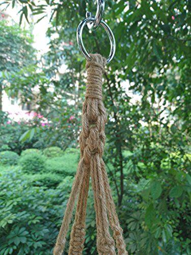 Tengyue Dragonfly 4 Legs Macrame Natural Jute Plant Hanger Insteading