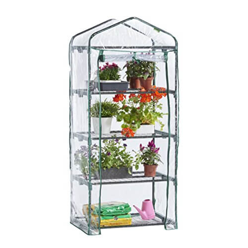 VonHaus 4 Tier Portable Mini Compact Greenhouse • Insteading