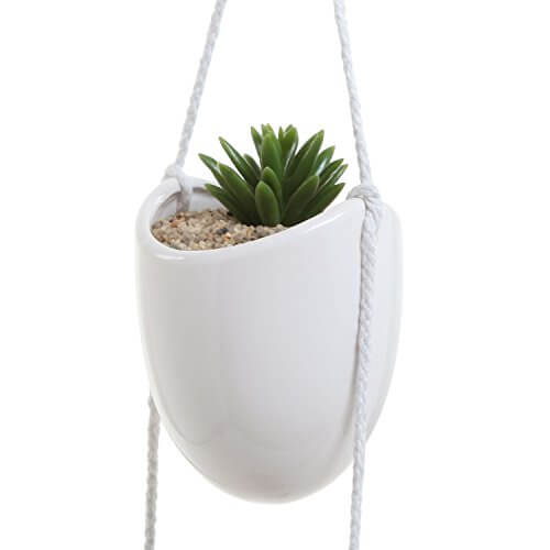 4 pot white ceramic rope hanging planter set insteading for Decorative hanging pots