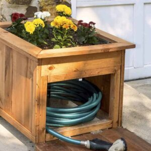 wood hose caddy with planter