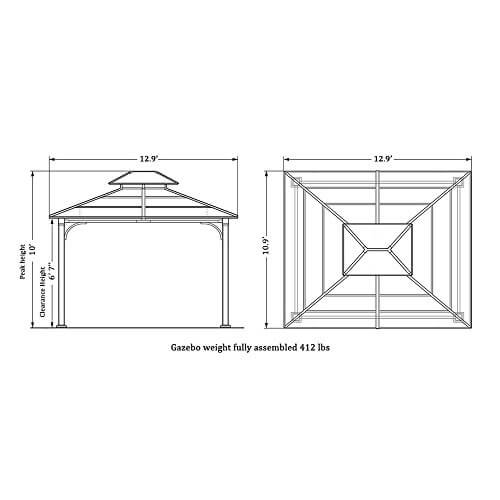 10 x 12 Chatham Steel Hardtop Gazebo • Insteading