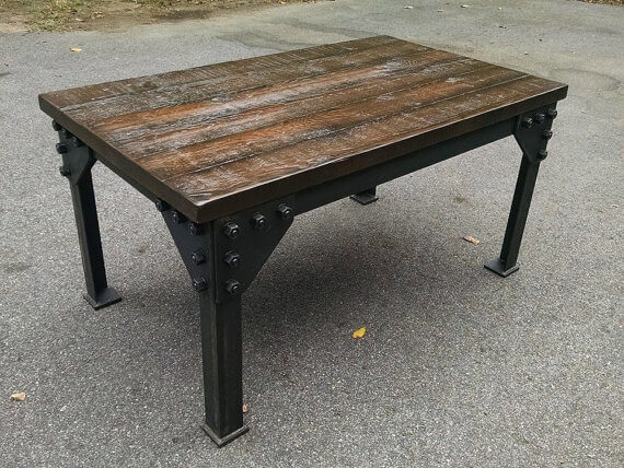 Blackened Steel and Cedar Table