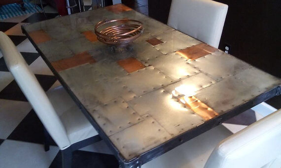 Copper and Zinc Dining Table