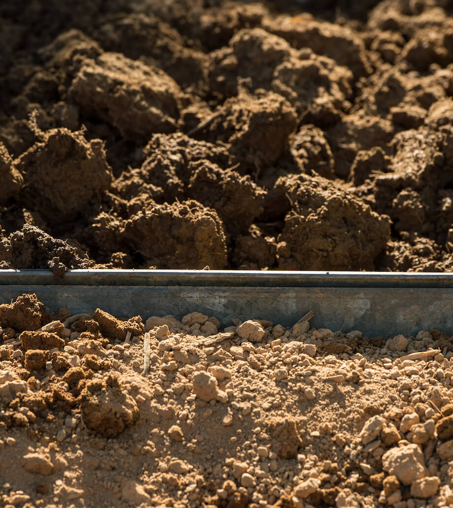 healthy soil is nice and clumpy and full, unhealthy soil is dry and compacted.