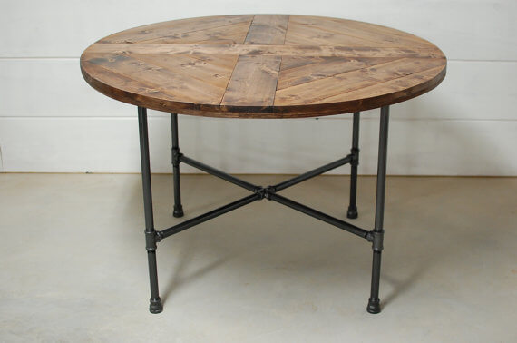 Round Wood Industrial Table