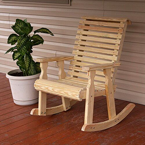 Amish Heavy Duty 600 Lb Roll Back Pressure Treated Rocking Chair